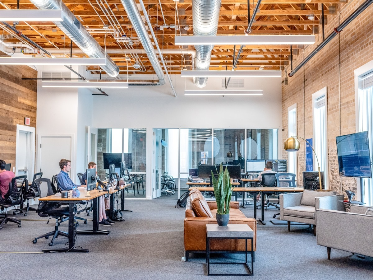 Open floor plan office space, well lit, cosy; Change the World list concept