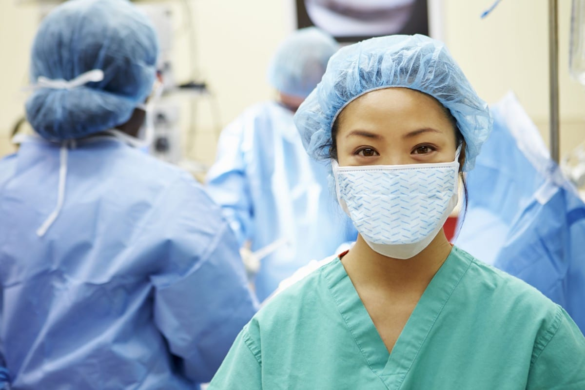 Nurse Working In Operating Theatre, representing how healthcare providers use AI to source talent